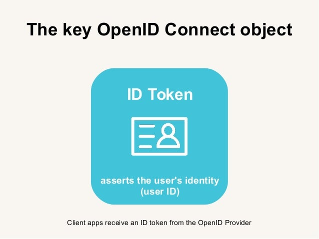 The key OpenID Connect object Client apps receive an ID token from the OpenID Provider ID Token asserts the user's identit...