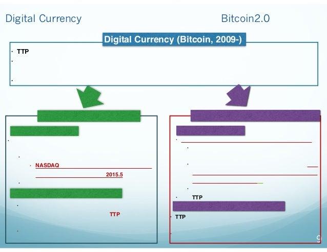 9 Digital Currencyからブロックチェインの応用(Bitcoin2.0)への展開 • TTP(国、その他)の信用の担保が難しいケースで有用(例 ギリシャ危機で注目を集める) • 「お金」そのものが代替されるため、先進国(特に米国)...