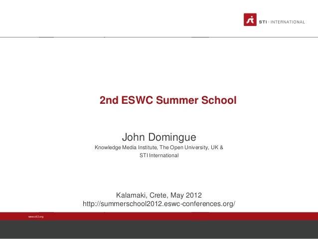 2nd ESWC Summer School  John Domingue Knowledge Media Institute, The Open University, UK & STI International  Kalamaki, Cr...