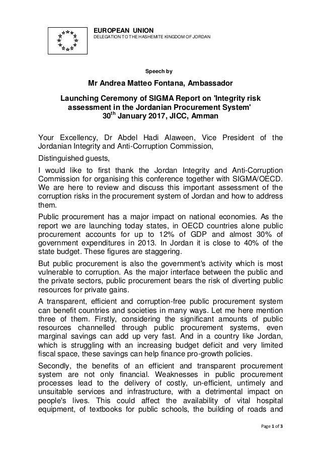 Page 1 of 3 EUROPEAN UNION DELEGATION TO THE HASHEMITE KINGDOM OF JORDAN Speech by Mr Andrea Matteo Fontana, Ambassador La...