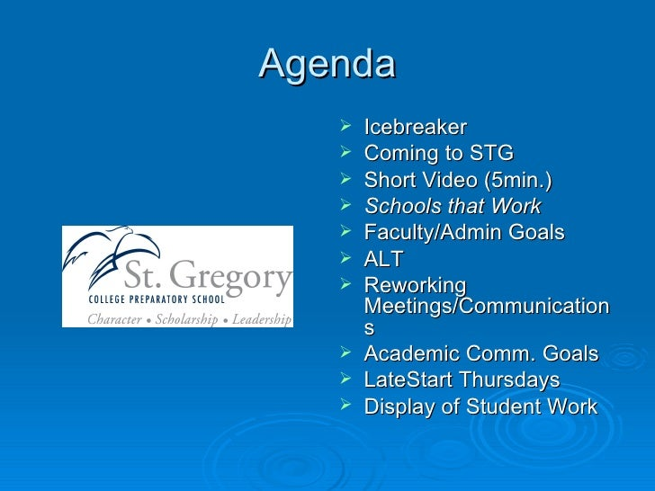 Agenda <ul><li>Icebreaker </li></ul><ul><li>Coming to STG </li></ul><ul><li>Short Video (5min.) </li></ul><ul><li>Schools ...