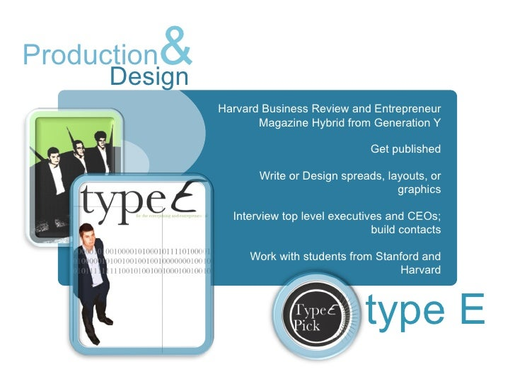 Design <ul><li>Harvard Business Review and Entrepreneur Magazine Hybrid from Generation Y </li></ul><ul><li>Get published ...