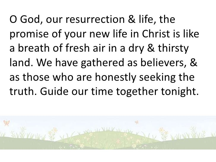 O God, our resurrection & life, the promise of your new life in Christ is like a breath of fresh air in a dry & thirsty la...