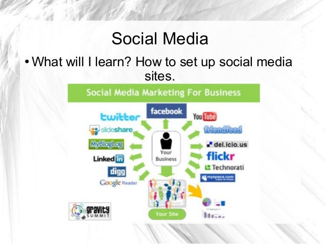 Social Media ● What will I learn? How to set up social media sites.