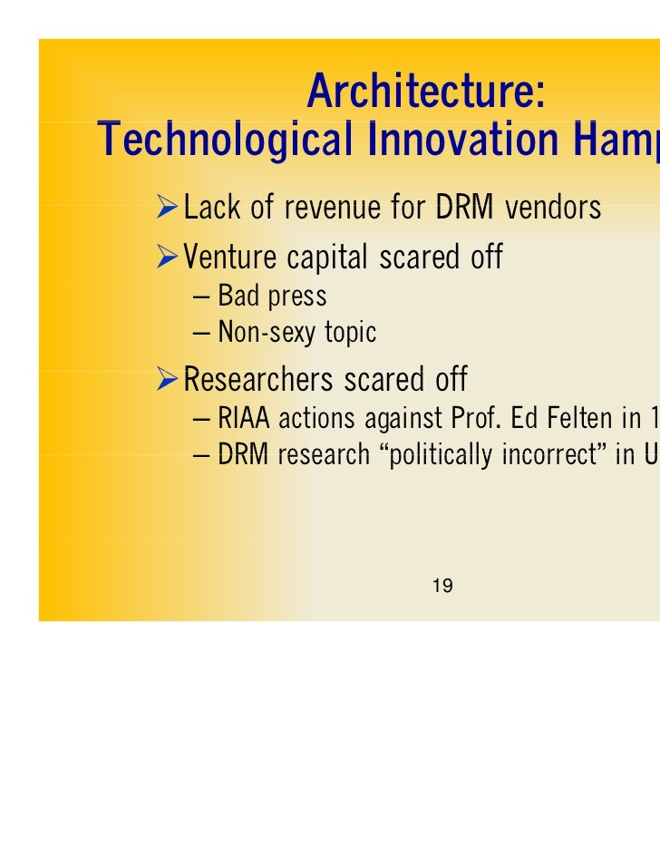 Architecture:Technological IT h l i l Innovation Hampered                    ti H    d  Lack of revenue for DRM vendors  ...