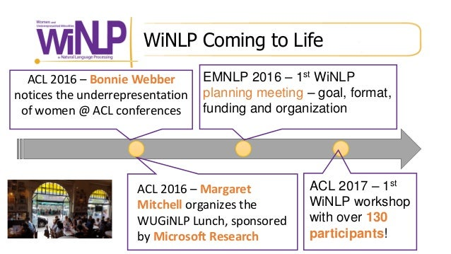 WiNLP Coming to Life ACL 2016 – Bonnie Webber notices the underrepresentation of women @ ACL conferences EMNLP 2016 – 1st ...