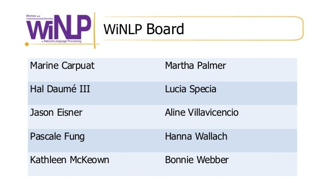 WiNLP Board Marine Carpuat Martha Palmer Hal Daumé III Lucia Specia Jason Eisner Aline Villavicencio Pascale Fung Hanna Wa...
