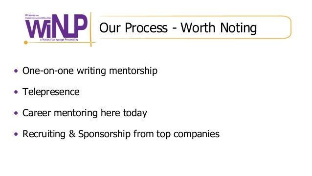 Our Process - Worth Noting • One-on-one writing mentorship • Telepresence • Career mentoring here today • Recruiting & Spo...