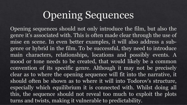 Opening sequences