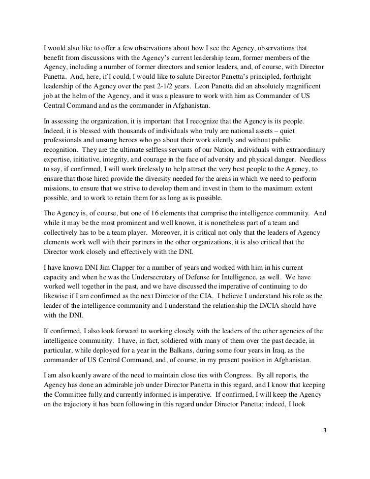 Opening Statement Of General David H. Petraeus