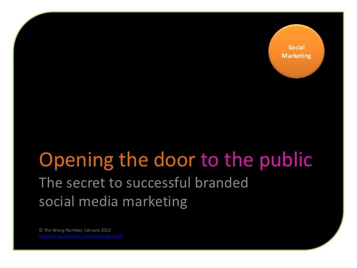 Social                                       MarketingOpening the door to the publicThe secret to successful brandedsocial...