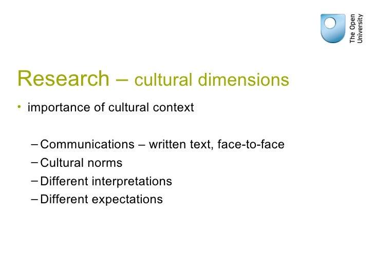 Research –  cultural dimensions <ul><li>importance of cultural context  </li></ul><ul><ul><li>Communications – written tex...