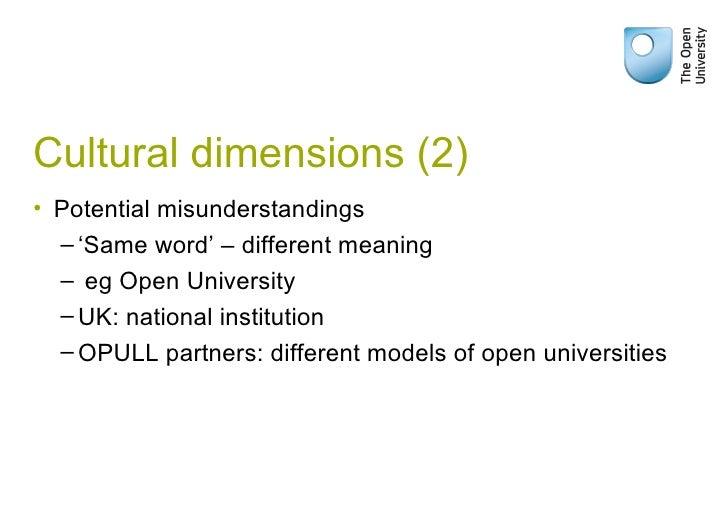 Cultural dimensions (2) <ul><li>Potential misunderstandings </li></ul><ul><ul><li>' Same word' – different meaning  </li><...