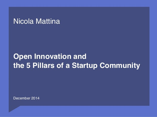 1  Nicola Mattina  Open Innovation and  the 5 Pillars of a Startup Community  December 2014