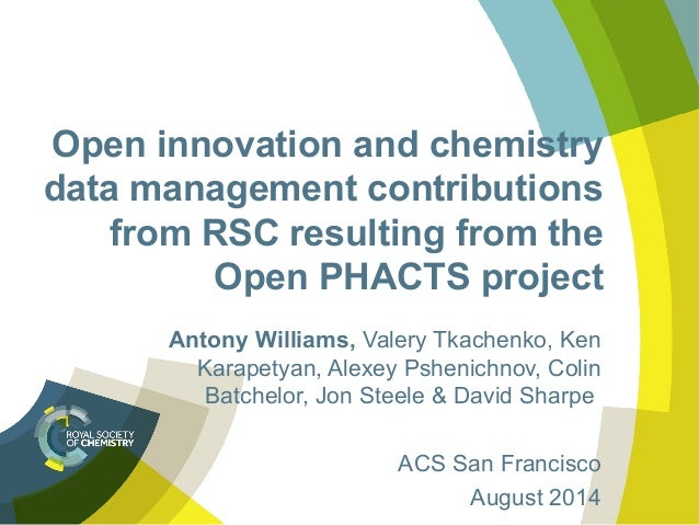 Open innovation and chemistry data management contributions from RSC resulting from the Open PHACTS project Antony William...