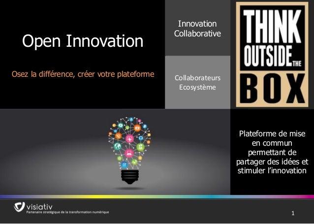 11 Open Innovation Osez la différence, créer votre plateforme Innovation Collaborative Collaborateurs Ecosystème Plateform...