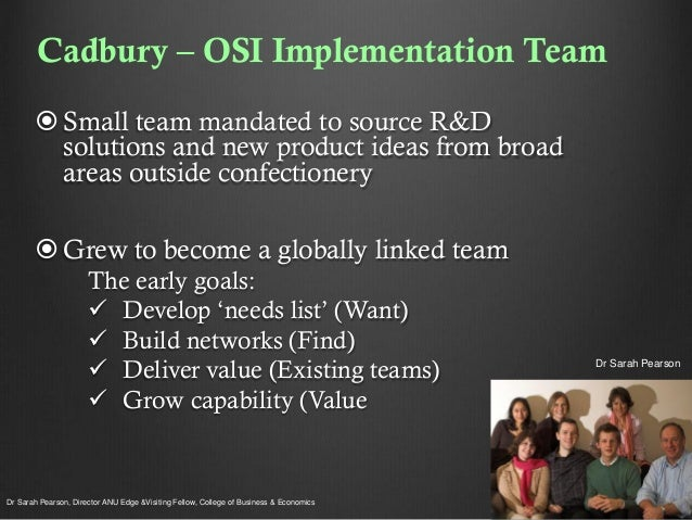 Cadbury – OSI Implementation Team  Small team mandated to source R&D solutions and new product ideas from broad areas out...