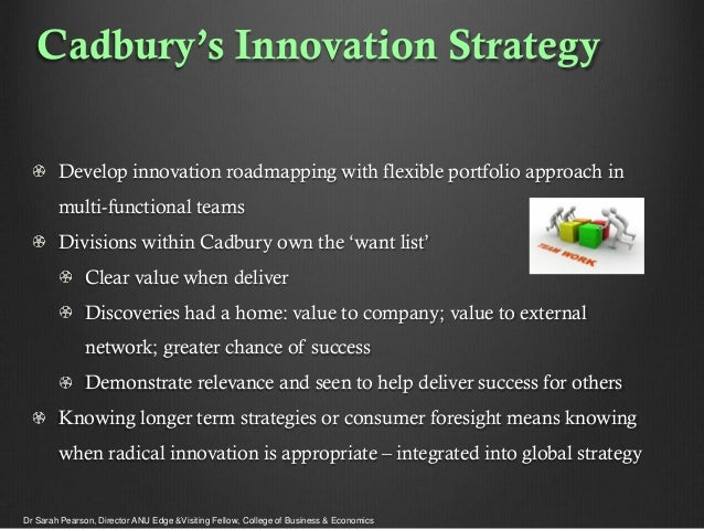Cadbury's Innovation Strategy Develop innovation roadmapping with flexible portfolio approach in multi-functional teams Di...