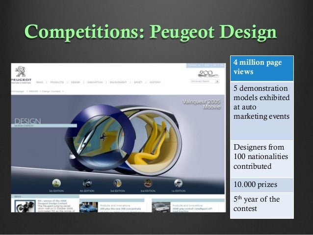 Competitions: Peugeot Design 4 million page views 5 demonstration models exhibited at auto marketing events  Designers fro...