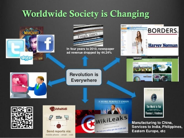 Worldwide Society is Changing  In four years to 2010, newspaper ad revenue dropped by 44.24%  Revolution is Everywhere  Ma...