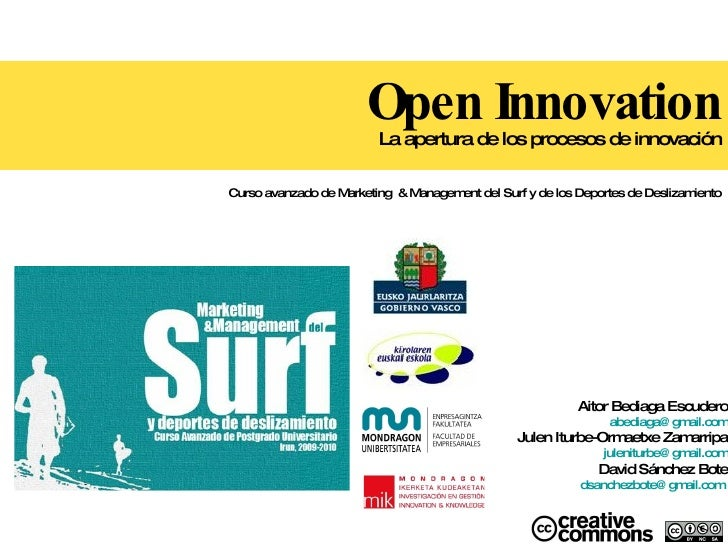 Open Innovation La apertura de los procesos de innovación Curso avanzado de  Marketing  & Management del Surf y de los Dep...