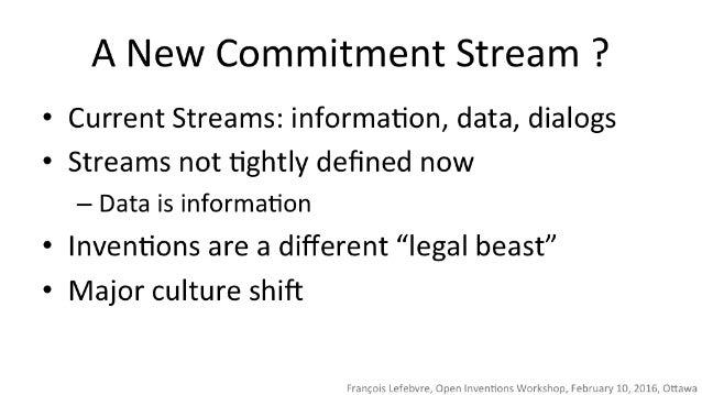 A New Commitment Stream ?   Current Streams:  information,  data,  dialogs  Streams not tightly defined now — Data is infor...