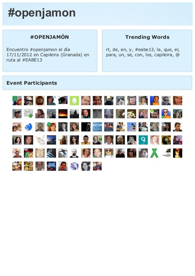#openjamon          #OPENJAMÓN                            Trending WordsEncuentro #openjamon el día            rt, de, en,...