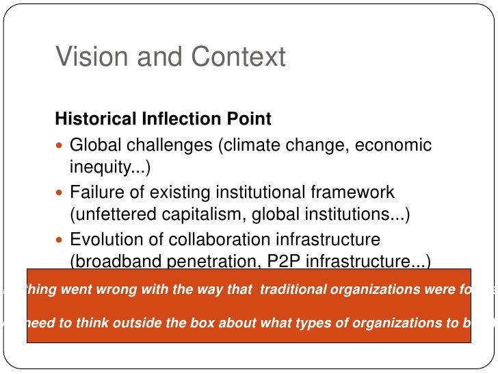 Vision and Context<br />Historical Inflection Point<br />Global challenges (climate change, economic inequity...)<br />Fai...