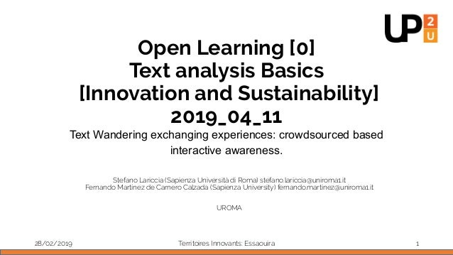 Open Learning [0] Text analysis Basics [Innovation and Sustainability] 2019_04_11 Text Wandering exchanging experiences: c...