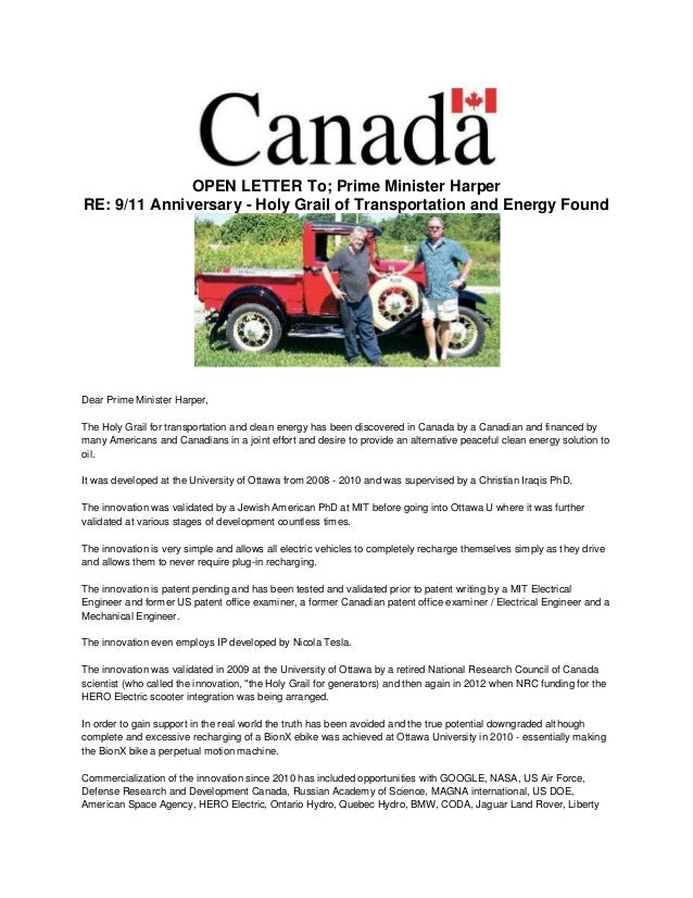 OPEN LETTER To; Prime Minister Harper RE: 9/11 Anniversary - Holy Grail of Transportation and Energy Found Dear Prime Mini...
