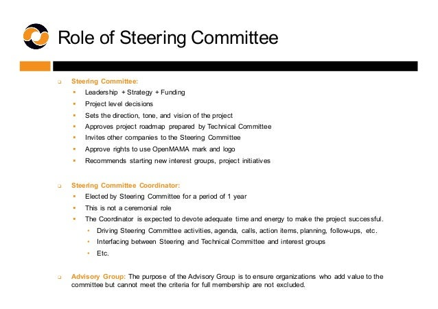 Role of Steering Committee q Steering Committee: § Leadership  + Strategy + Funding § Project level decisions...