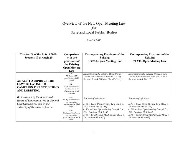 1Overview of the New Open Meeting LawforState and Local Public BodiesJune 23, 2010Chapter 28 of the Acts of 2009,Sections ...
