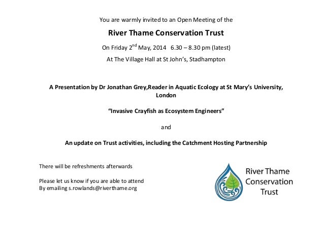 You are warmly invited to an Open Meeting of the River Thame Conservation Trust On Friday 2nd May, 2014 6.30 – 8.30 pm (la...