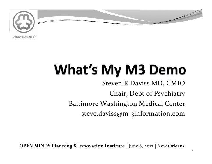 Steven R Daviss MD, CMIO                                                Chair, Dept of Psychiatry       ...