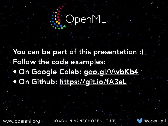 Open and Automated Machine Learning