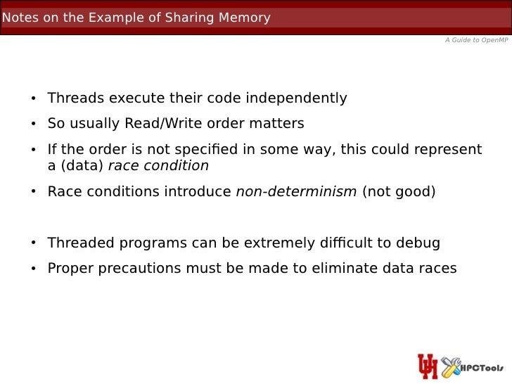 Notes on the Example of Sharing Memory                                                                A Guide to OpenMP   ...