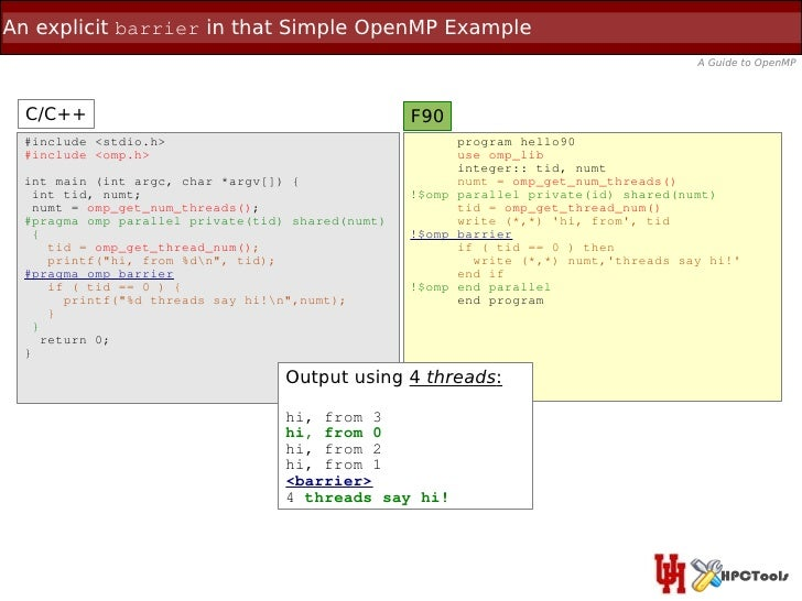 An explicit barrier in that Simple OpenMP Example                                                                         ...
