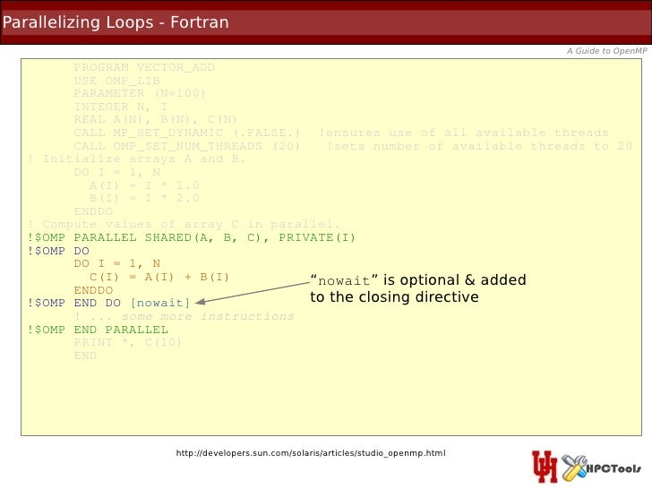 Parallelizing Loops - Fortran                                                                                      A Guide...