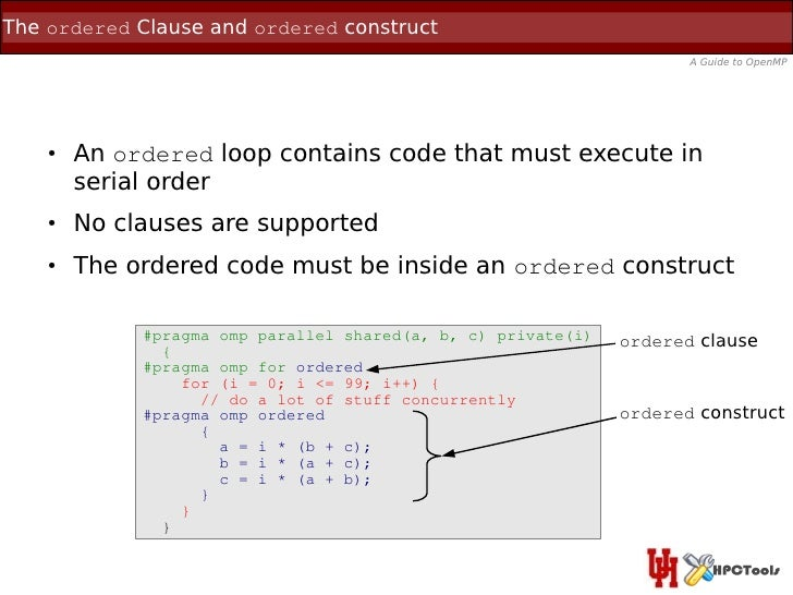 The ordered Clause and ordered construct                                                                      A Guide to O...