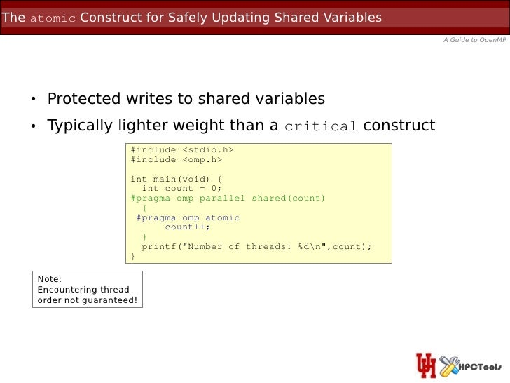 The atomic Construct for Safely Updating Shared Variables                                                                 ...