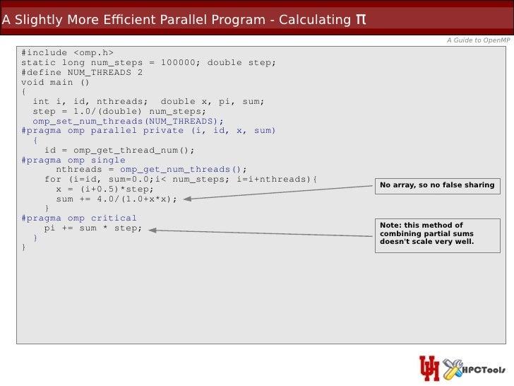 A Slightly More Efcient Parallel Program - Calculating   π                                                                ...