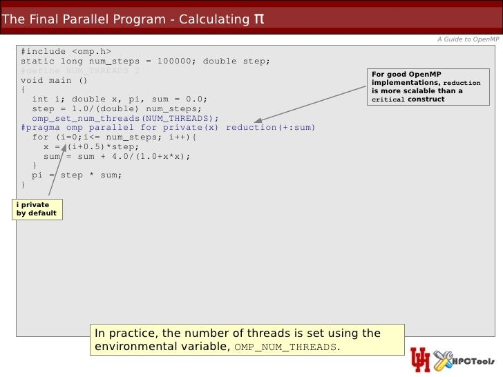 The Final Parallel Program - Calculating    π                                                                             ...