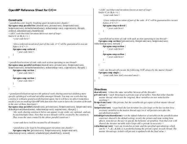 OpenMP Reference Sheet for C/C++                                                                <A,B,C such that total ite...