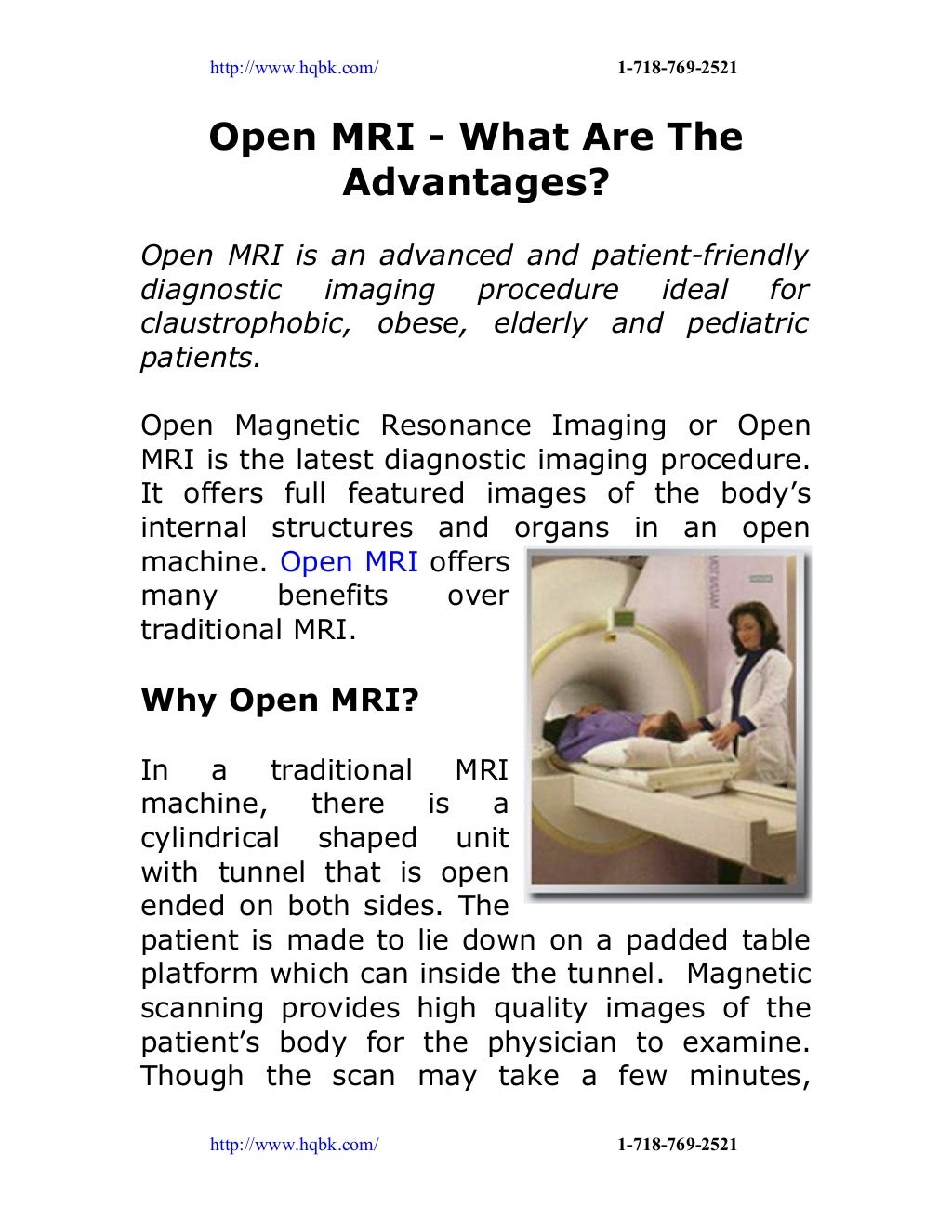 Open mri what are the advantages