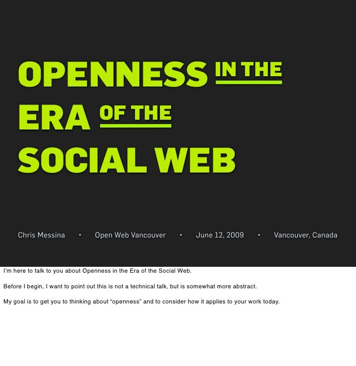OPENNESS                                                                   IN THE       ERA OF THE       SOCIAL WEB      C...