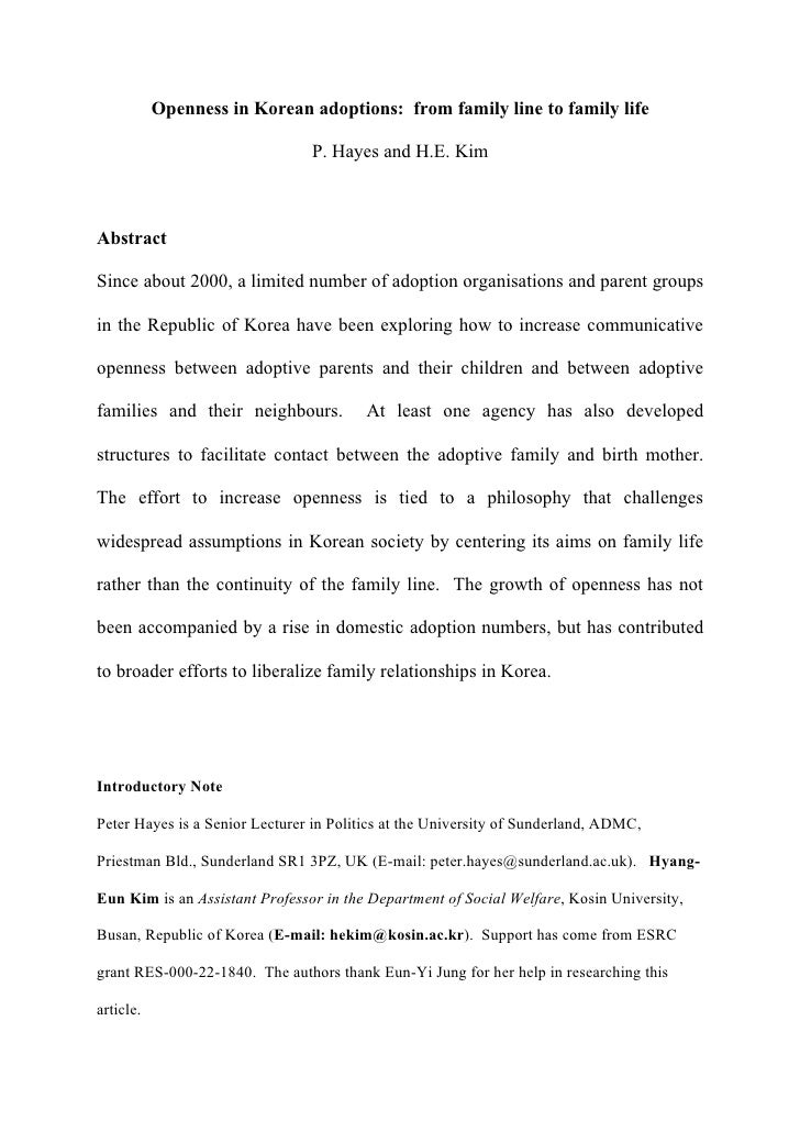 Openness in Korean adoptions: from family line to family life                                  P. Hayes and H.E. Kim    Ab...