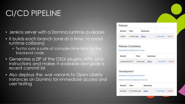 CI/CD PIPELINE • Jenkins server with a Domino runtime available • It builds each branch (one at a time, to avoid runtime c...