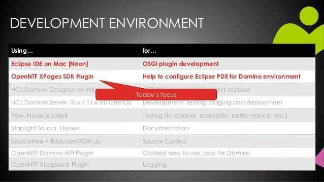 DEVELOPMENT ENVIRONMENT Using… for… Eclipse IDE on Mac [Neon] OSGi plugin development OpenNTF XPages SDK Plugin Help to co...