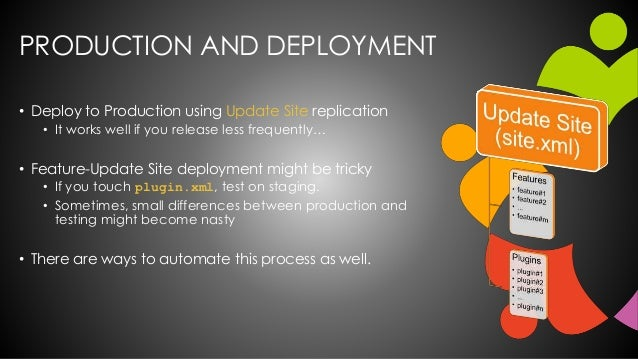 PRODUCTION AND DEPLOYMENT • Deploy to Production using Update Site replication • It works well if you release less frequen...
