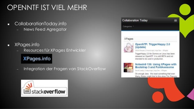 OPENNTF IST VIEL MEHR  CollaborationToday.info  News Feed Agregator  XPages.info  Resources für XPages Entwickler  In...